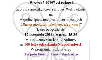 Stalowa Wola: Pieśni patriotyczne w SDK z harcerzami, grupą rekonstrukcyjną i Racławicami.